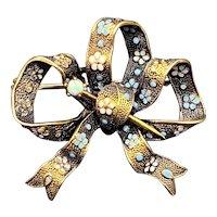 Antique Victorian 14k, Opal & Enamel Bow Brooch