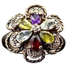 Sterling Silver, Diamond, Blue Topaz, Tourmaline, Amethyst & Garnet Flower Cluster Ring