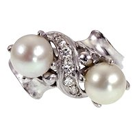 Vintage Mid-Century 14K, Pearl & Diamond Ring