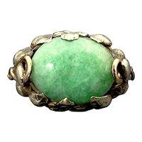 Antique Floral Arts & Crafts 14K & Jade Ring