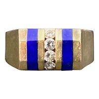 Retro 18K, Diamond & Lapis Lazuli Ring