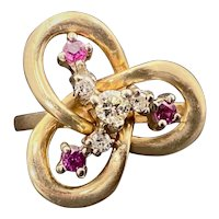 14K, Diamond & Ruby Love Knot Ring