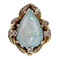Vintage 14K, Opal & Diamond Ring