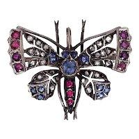 Antique 14K, Silver, Diamond, Sapphire & Ruby Butterfly Brooch