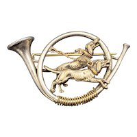 Antique Silver Hunting Hounds Horn Brooch