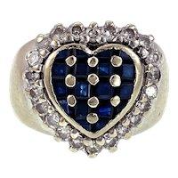 14K, Sapphire & Diamond Heart Ring
