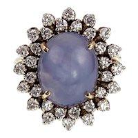14K, Diamond & Star Sapphire Ring
