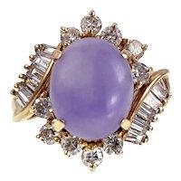 14K, Lavender Jade & Diamond Ring