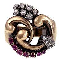 Vintage Retro 14K, Diamond & Ruby Ring