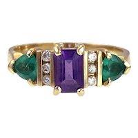 Vintage 14K, Diamond, Emerald & Amethyst Ring