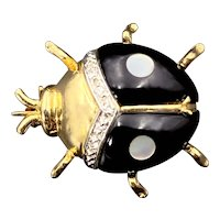 14K, Diamond, Mother of Pearl & Enamel Insect Brooch