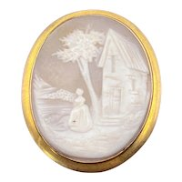 Antique 10K & Carved Shell Cameo Brooch