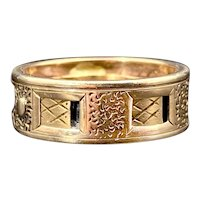 Antique 14K Inscribed Rotating Memento Mori Ring