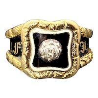 Antique Georgian 18K Gold, Diamond, Enamel, Glass & Woven Hair Mourning Ring