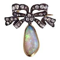 Antique 14K, Silver, Diamond & Opal Drop Bow Brooch