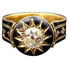 Antique Victorian 18K, Diamond & Black Enamel Mourning Ring