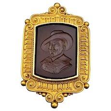 Antique 18K & Carnelian Intaglio Cameo Cavalier Portrait Locket Brooch/Pendant circa 1870
