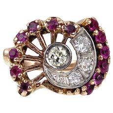 Vintage Retro 14K, Diamond & Pink Sapphire Nautilus Ring