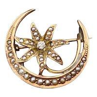 Antique 14K, Diamond & Seed Pearl Starflower & Crescent Brooch