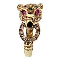 Vintage 14K, Diamond, Emerald & Ruby Leopard Ring