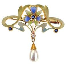 Antique Art Nouveau 18K, Pearl, Diamond, Sapphire & Enamel Plique-à-Jour Brooch