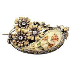 Antique 14K, Diamond & Floral Enamel Cloisonnée Brooch