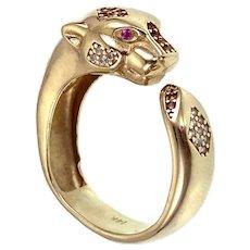 14K, White, Pink & Yellow Topaz Cougar Ring