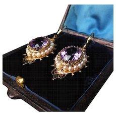 *Rose De France* Amethyst Earrings with Pearls in 18K Gold