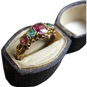 Enchanting Ruby and Emerald 15k Gold Victorian Band, Birmingham, 1865 (size 5.5)