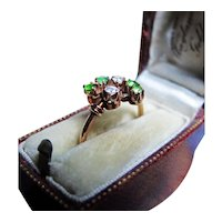 *Stars & Emeralds* Antique Emerald & Diamond Ring in 14k Gold