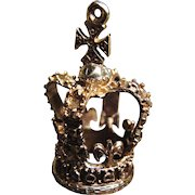 *Royal Adornment* Antique 14K Gold Detailed Crown Pendant