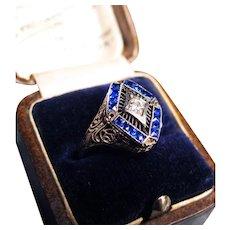 *Pride of the Elves* Stunning Sapphire & Diamond 18K White Gold Ring