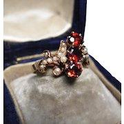 *Milk & Wine* Antique Victorian Garnet & Pearl Ring in 15K Gold