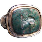 *Leopard's Love* Antique Victorian Intaglio Bloodstone Watch Fob in 14K Gold