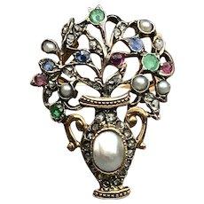 Rare and Wonderful Georgian Period Giardinetti Gold Ring with Gemstones circa 1750--Just Fabulous!  (size 6.25-7)