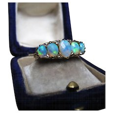 *The Bifrost* Exquisite Five-Opal Ring with Diamonds in Outstanding 18K Yellow Gold
