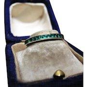 *Loop of Envy* Art Deco Genuine Emerald Eternity Band in Vibrant Platinum c.1920 Size 5.5