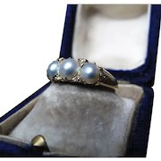 *The Helena* Antique Victorian 3-Pearl 18K Gold Ring Size 5.75