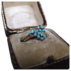 *Forget-Me-Not* Antique Victorian Turquoise & Diamond 18K Gold Ring c.1890