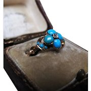 *Drops of the Sea* Antique Victorian Turquoise & Diamond 18K Gold Ring