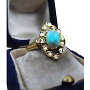 *Eye of Another World* Vintage Opal & Diamond Ring in 20K Gold