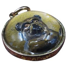 *Fido* Antique Victorian Crystal Double-Faced Fob/Pendant with Painted Bulldog in 18K Gold