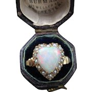 """""""Sweetheart"""" Vintage Opal and Pearl 14k Heart Ring (Size 5.75)"""