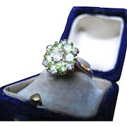 *Flower of the Forest* Vintage Peridot & Diamond Ring in 18K Gold