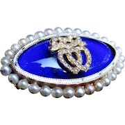 *Hearts Entwined* Cobalt Blue Glass & White Enamel Brooch with Double-Hearts & Invisible-Set Pearls in 18K Gold
