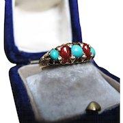 *Fire & Ice* Turquoise & Carnelian Diamond Ring in 18K Gold c.1900