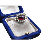 *Red Sea Pearl* Georgian Garnet Cabochon with Pearl Halo (size 5.75)
