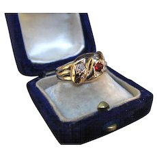 """""""Serpent Sisters"""" 9k Gold Snake Ring with Garnet and Diamond Heads (size 9)"""