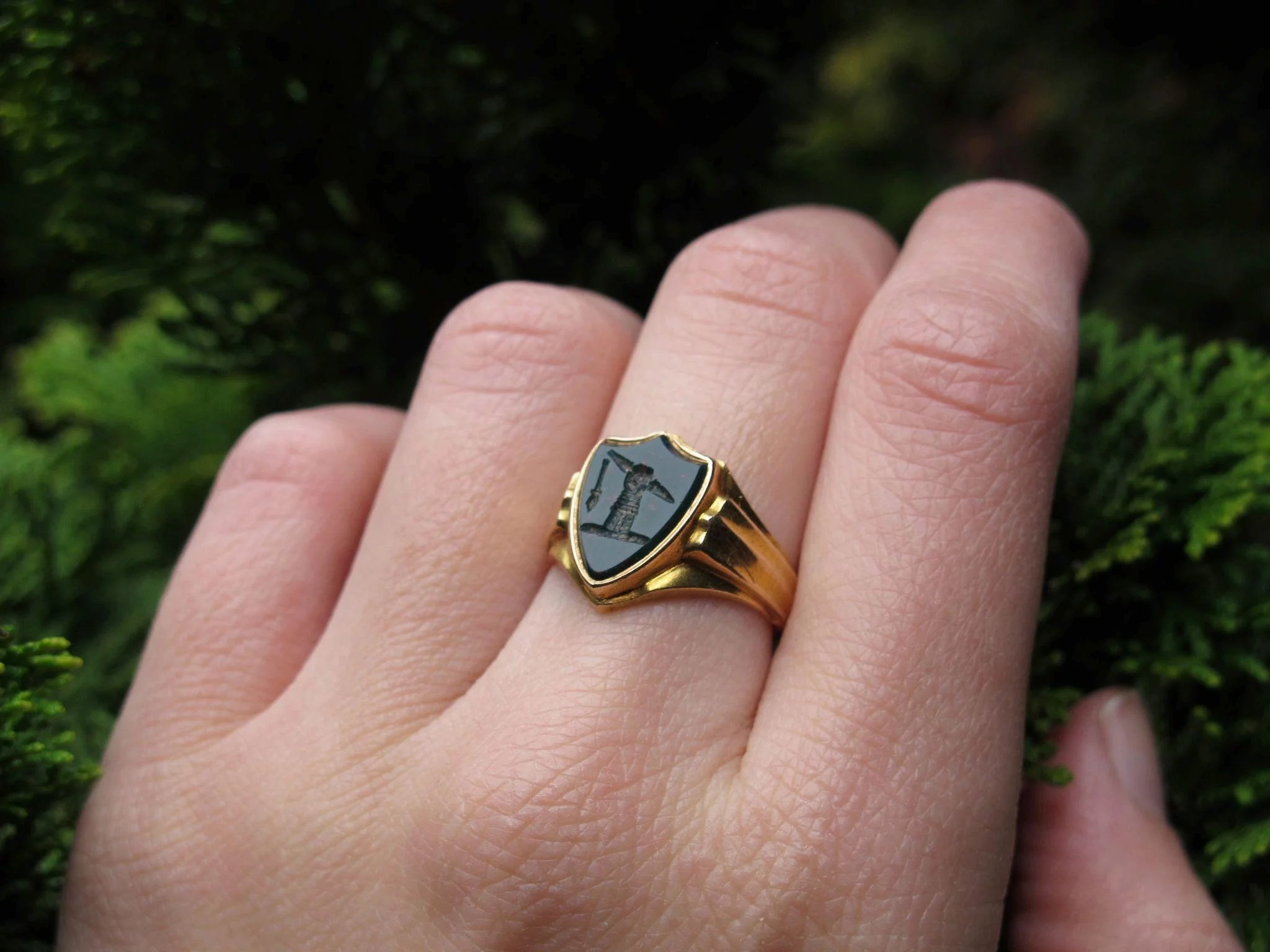 The Ancile Shield* English Bloodstone & 15K Gold Signet Seal Ring ...