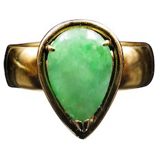 """""""Empress' Tear"""" Jade and 18k Gold Antique Conversion Ring (size 7.5)"""